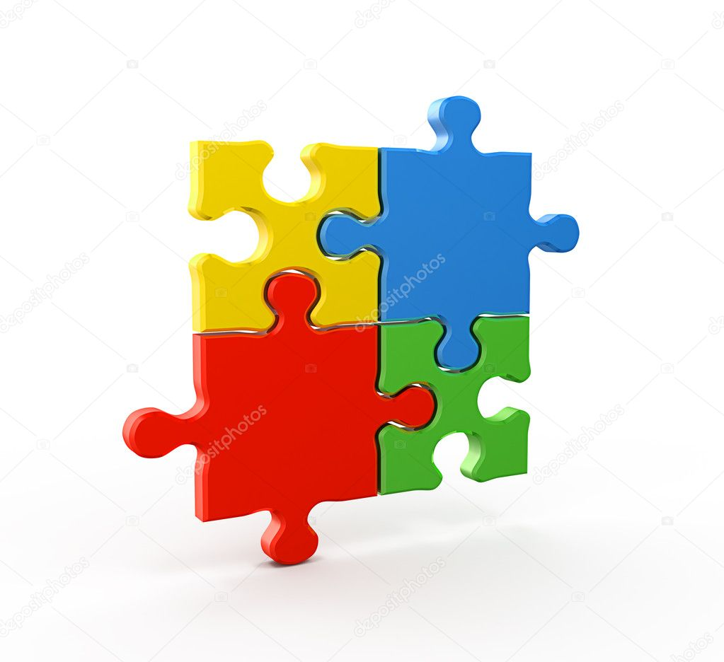 Puzlle connection. Quality studio render — Stock Photo #4516939