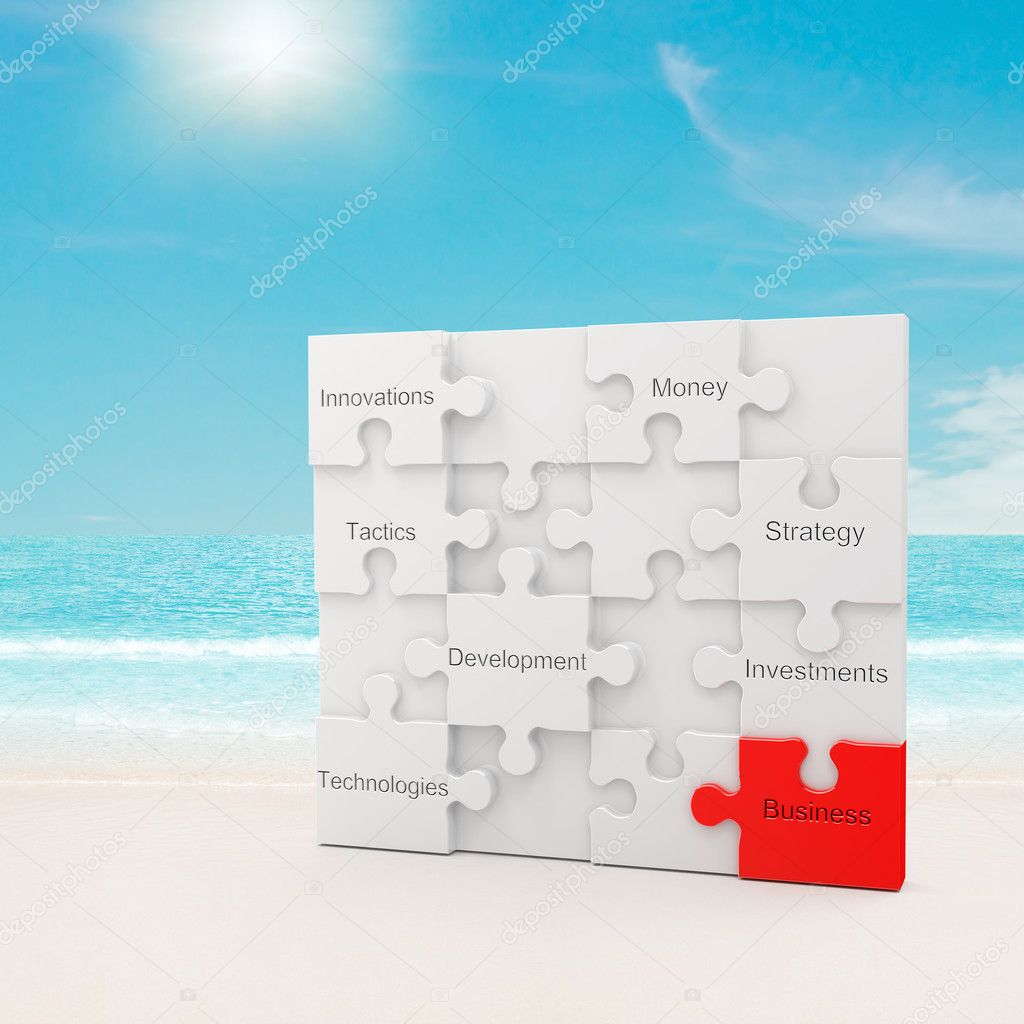 Business puzzle concept. 3d and photo montage — Stok fotoğraf #4669254