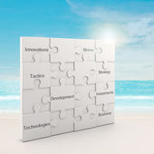Business white puzzle concept — Stock Photo