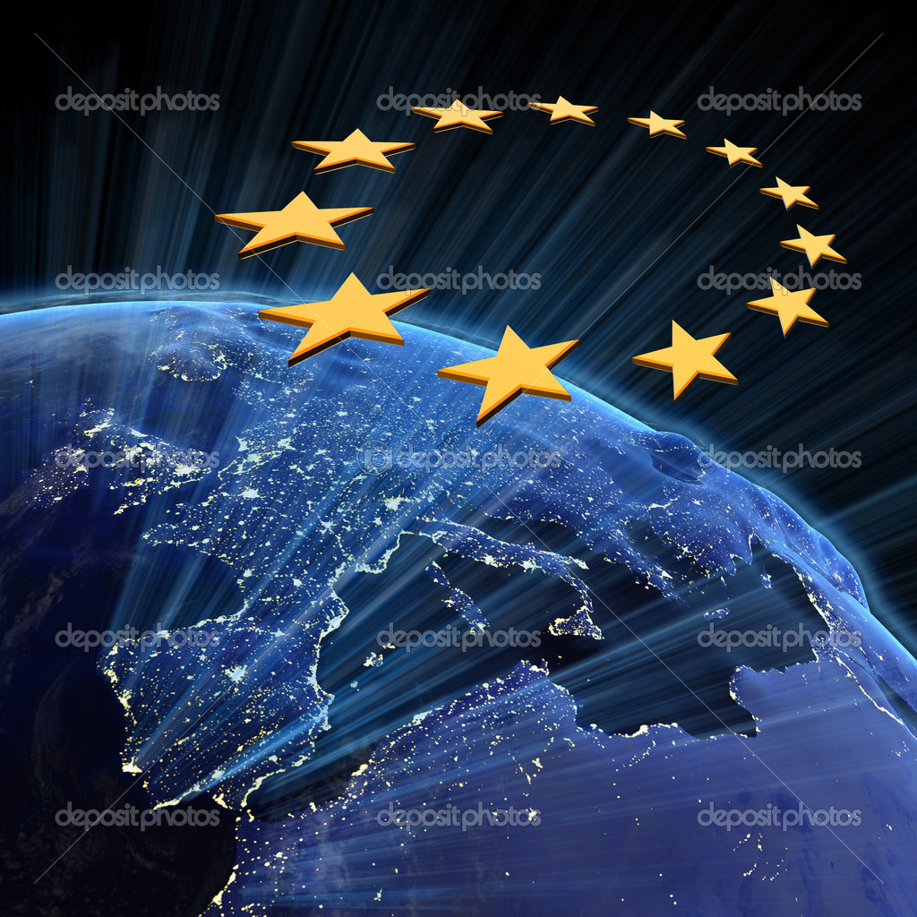 European Union city lights. Earth map from NASA — Stockfoto #4774330