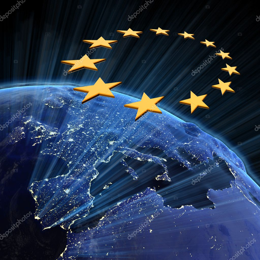 European Union city lights. Earth map from NASA — Foto de Stock   #4774330