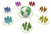 Rainbow social network — Stock Photo