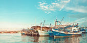 Port near island — Stock Photo