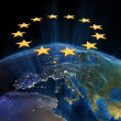 Stock Photo: European Union at night
