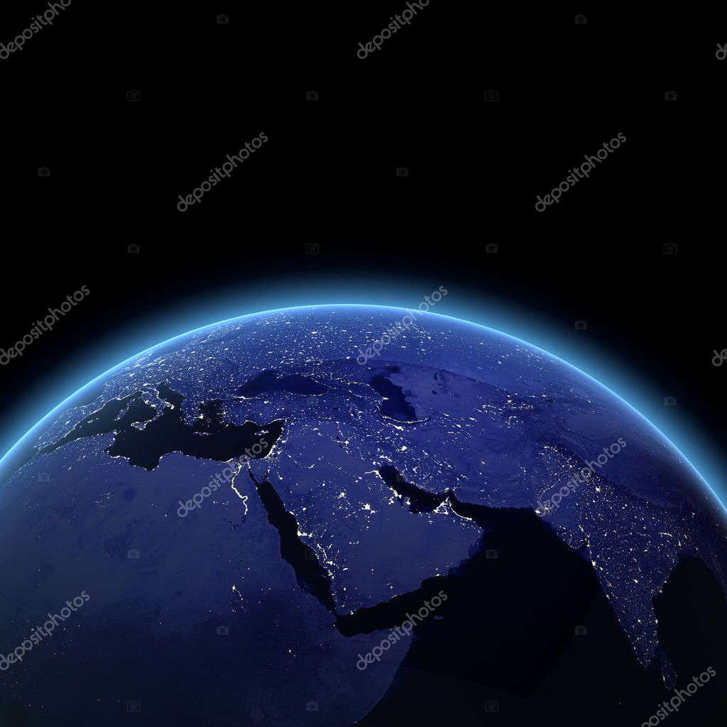 Middle East at night. Maps from NASA imagery  Stock Photo #4935092