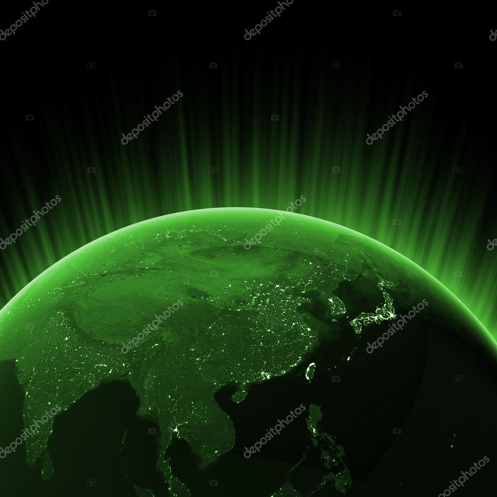 Green Asia. Maps from NASA imagery — Stock Photo #4935093