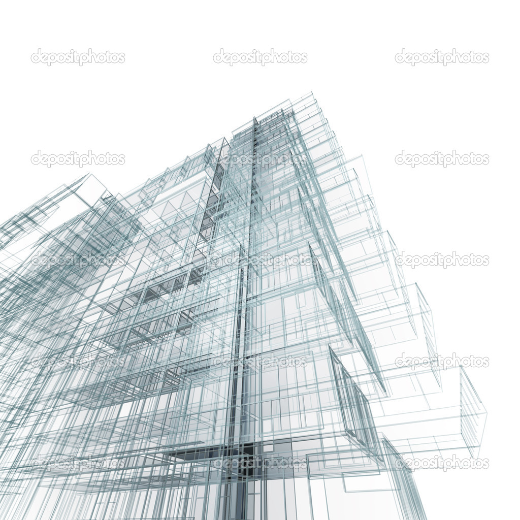 Concept project. 3d architecture blueprint — Stock Photo #5032796