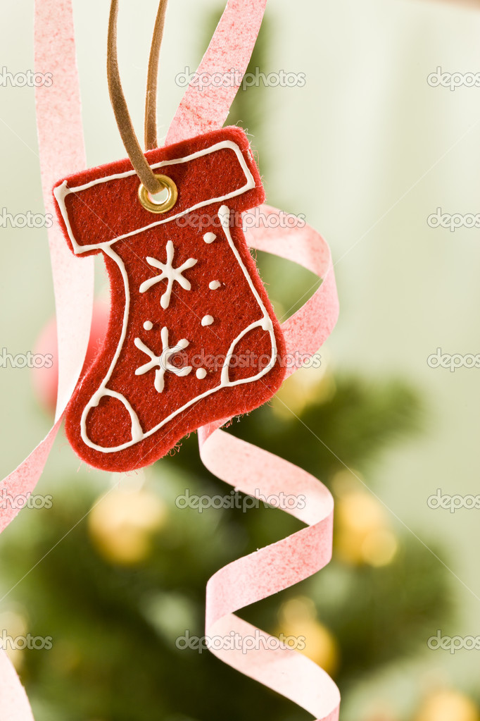 Holiday series: Christmas red gift bootl decoration and fir — Stock Photo #4353552