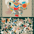 Royalty-Free Stock Vector Image: Aztec puzzle, slices and the decision