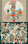 Aztec puzzle, slices and the decision — Vector de stock