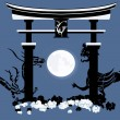 Torii, gate in a kingdom of the dead - Stock Vector