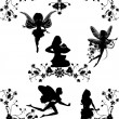 Set of fairies and floral corners - Stock Vector