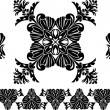 Set of decorative elements, border and flower patterns — Stock Vector