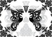 Phoenix stencil and decorative framework — Stock Vector