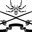 Spider, a sword and a ribbon stencil composition - Stock Vector