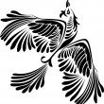 Fantasy bird stencil — Stock Vector