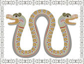 Traditional Aztec snake with two heads — Stock Vector