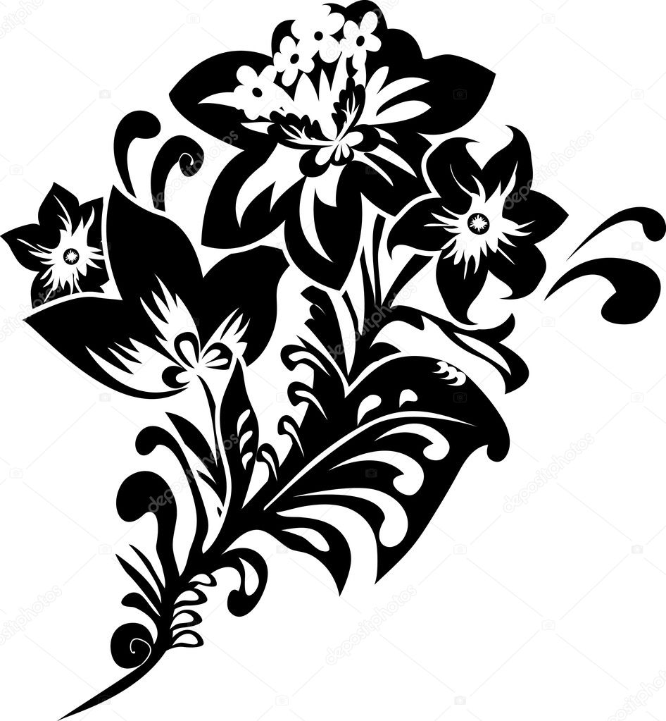 Black fantasy flower stencil illustration for design — Stock Vector #4510539