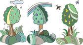 Albero da frutto in stile animato — Vettoriale Stock