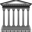 Stock Vector: Greek temple stencil