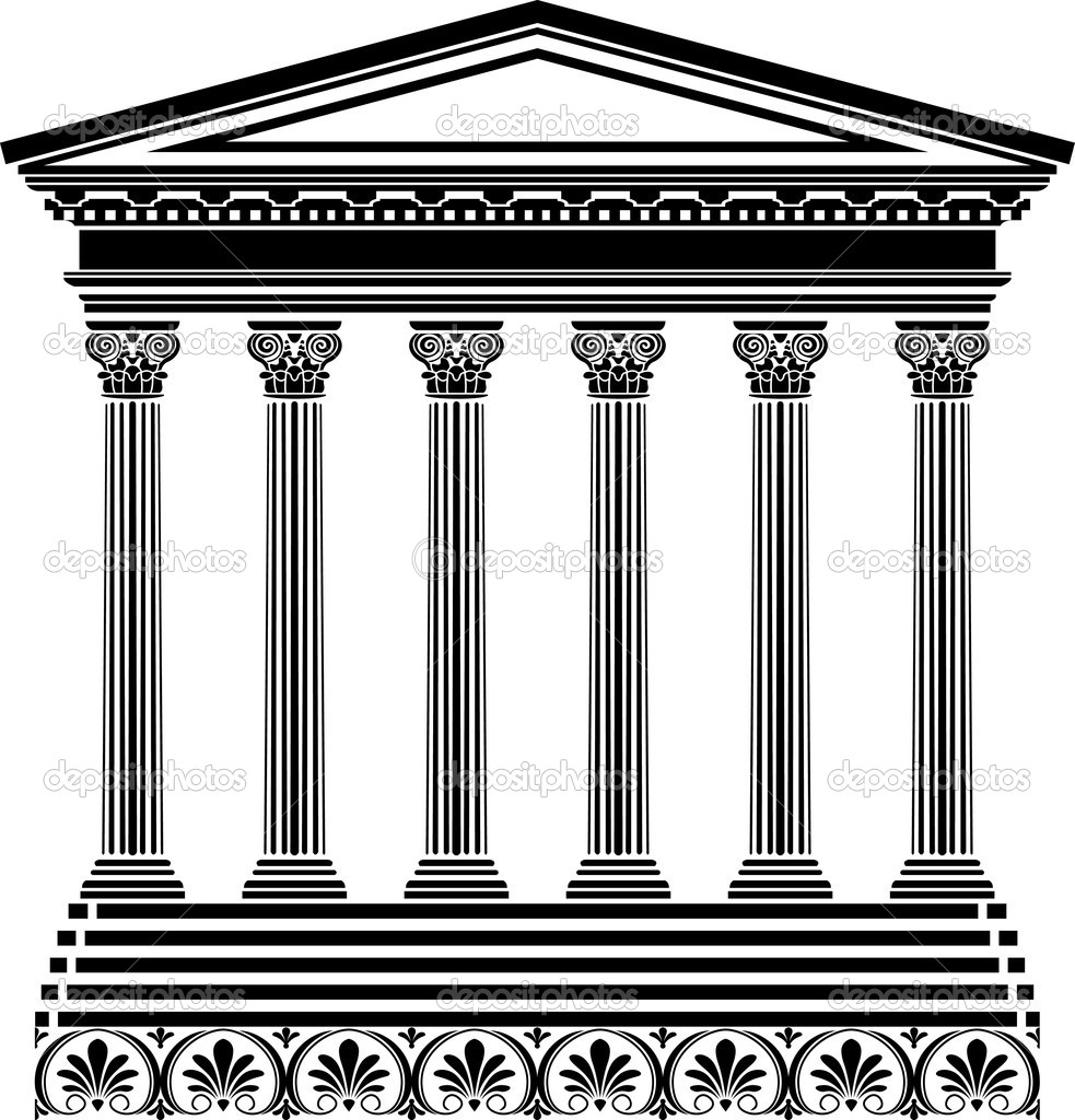 Greek temple stencil vector illustration for design — Imagens vectoriais em stock #4916061