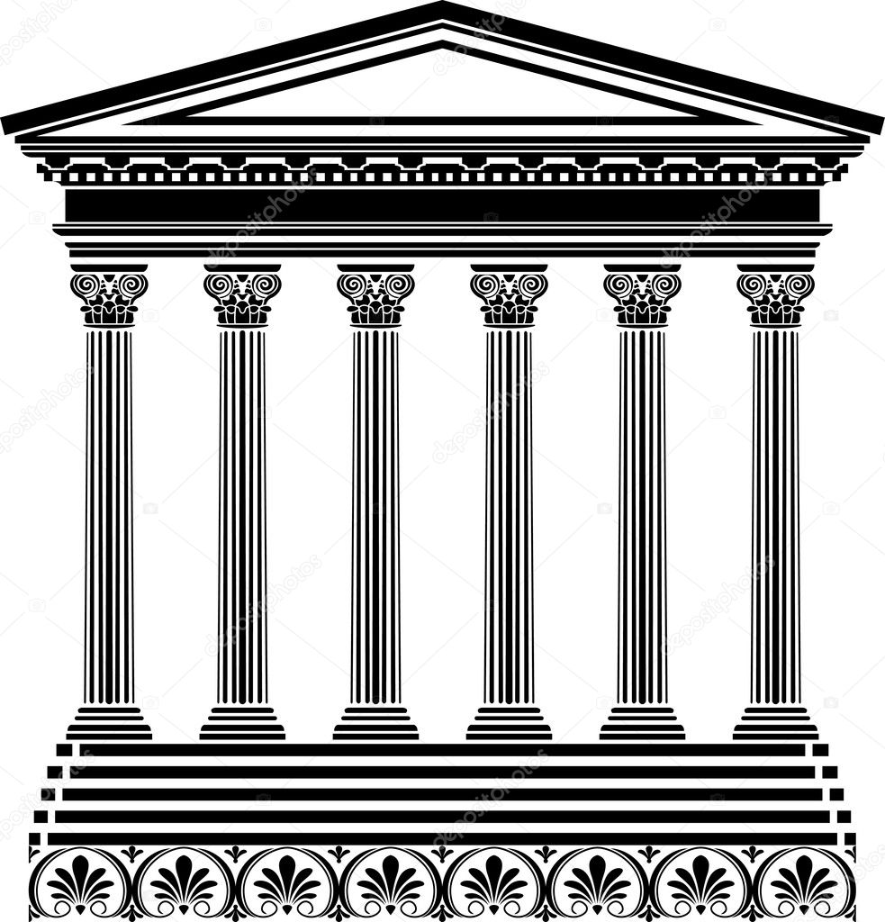 Greek temple stencil vector illustration for design — Stock Vector #4916061