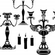 Set of candelabrum - Stok Vektör