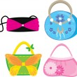 Set of bright female bags - Stock Vector
