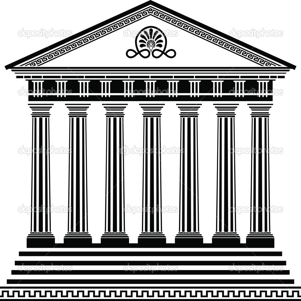 Greek temple stencil second variant vector illustration for design  Stock Vector #5002562