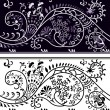 Filigree flower border, color variant and cliche — Stok Vektör