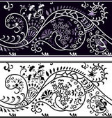 Filigree flower border, color variant and cliche — Stock Vector