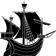 Sailing vessel stencil — Stock Vector