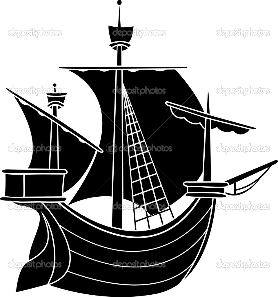 Sailing vessel stencil vector illustration for web  Stock Vector #5110351