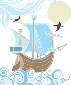Stencil sailing vessel in the sea — Stock Vector