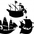 Sailing vessel silhouettes set — Stock Vector