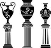Ancient Greek vase on column — Stock Vector
