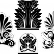 Set of traditional architectural elements stencil — Stock Vector