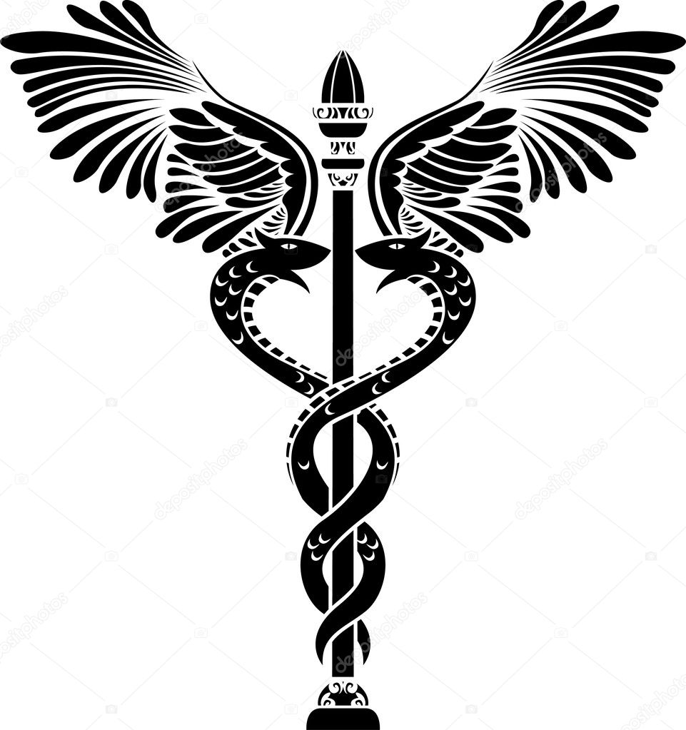 Medical symbol caduceus stencil vector illustration for web — Stock Vector #5289482
