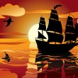 Royalty-Free Stock Vector Image: Sunset. sailing vessel