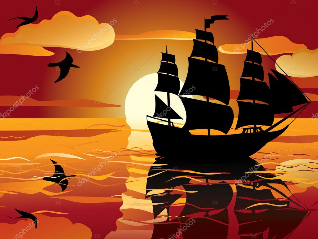 Sunset. sailing vessel in tranquil evening sea  Stock Vector #5316086