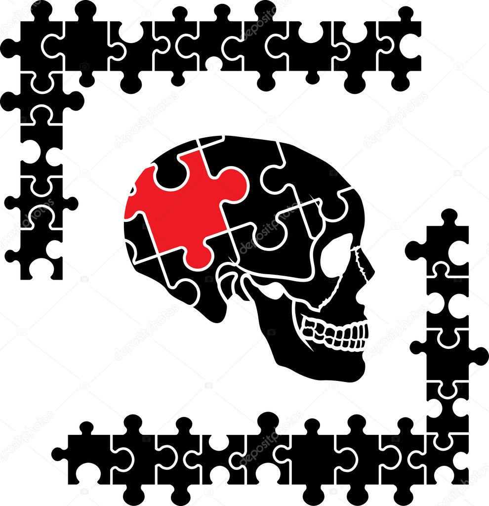 Puzzle human skull - Stock Illustration