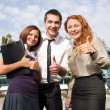 Group of office workers express happyness — Stock Photo