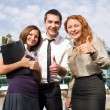 Stock Photo: Group of office workers express happyness