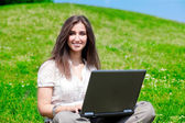 Beautiful woman with notebook close up — Stock Photo
