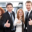 Team express positivity in office — Stock Photo
