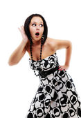 Woman surprised with something heard — Stock Photo