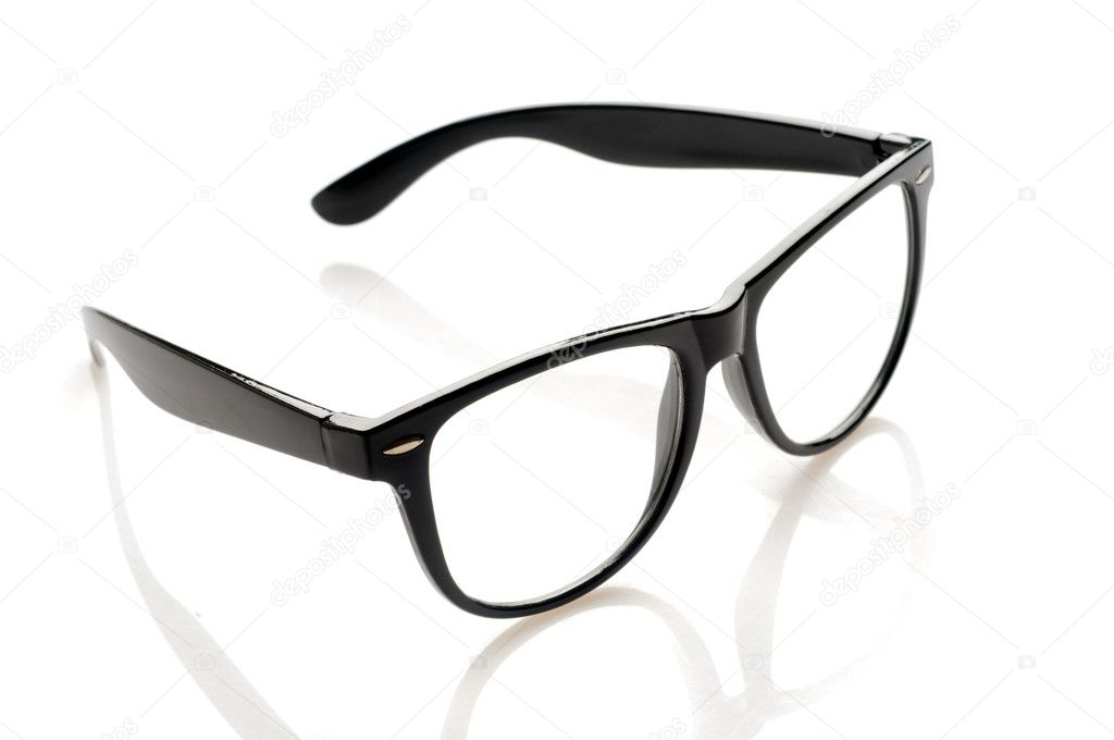 Black glasses over white background  Stock Photo #4156290
