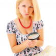 Attractive young blonde studying map — Stock Photo