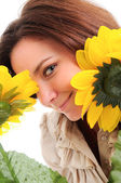 Woman and flower. — Stock Photo