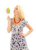 Attraente bionda con lecca-lecca — Foto Stock